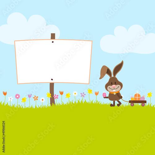 Bunny Holding Egg Pulling Handcart Easter Eggs Board