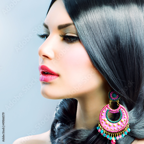 Beauty Woman With Long Black Hair. Hairstyle