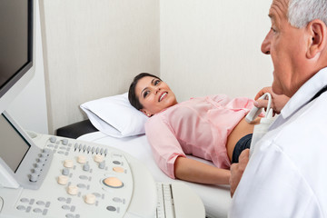 Female Going Through Abdomen Ultrasound
