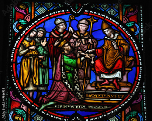 Pepin the Younger and Pope Stephen II - Stained glass window