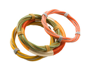 Wood, wires and thread tribal bracelets still life