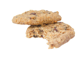 Oatmeal raisings cookies, eaten. Isolated on white.