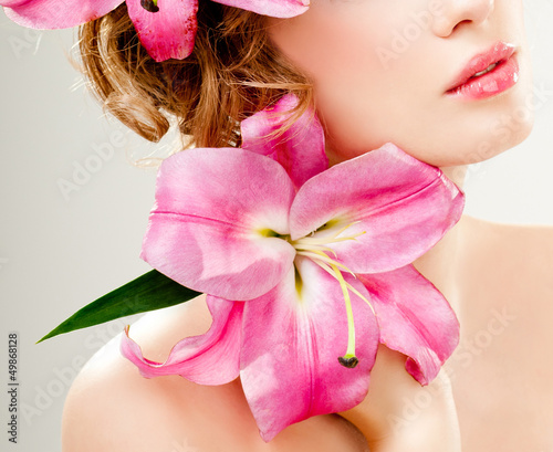 beautiful girl with pink lilies