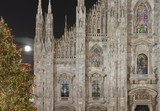 Minster illuminated windows and Xmas tree, Milan