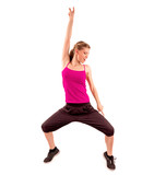 Zumba fitness woman exercising dance aerobics, isolated on white