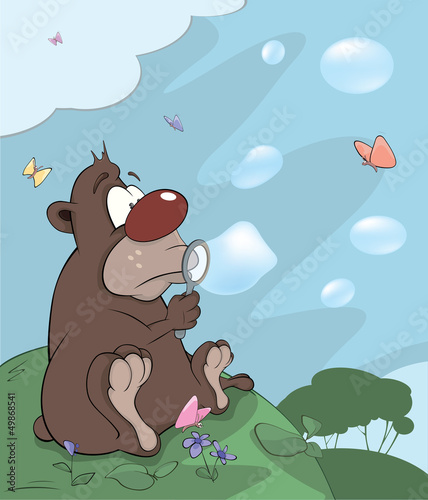 Bear cub and soap bubbles cartoon