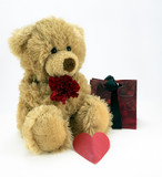 Cuddly ted with red flower and heart. poster
