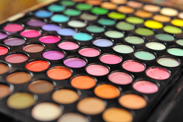 Large array of eye shadows