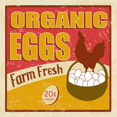 Organic eggs vintage poster
