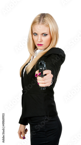 Sexy girl with gun in hand