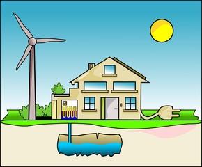 Haus - Energie - Strom - Comic Style