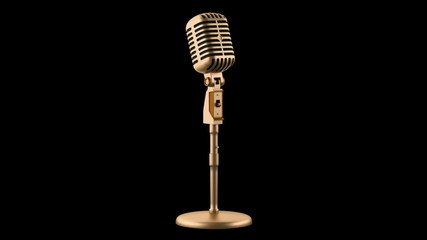 golden vintage microphone loop rotate on black background