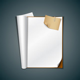 Open white book and vintage paper note, vector