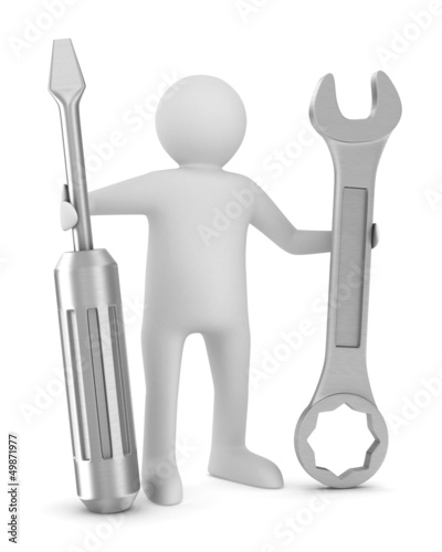 Man with screwdriver and spanner on white background. Isolated 3