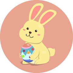 Easter Rabbit Cute Cartoon Holding Egg