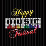 happy music festival labels poster