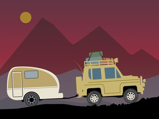 Off-road vehicle with trailer, vector illustration