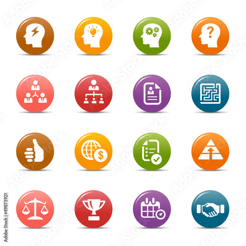 Colored Dots -  Business strategy and management icons