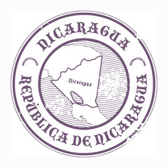 Grunge rubber stamp with the name and map of Nicaragua, vector