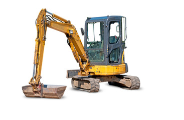 Yellow Excavator at Construction Site - white background