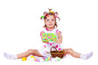Girl with Easter eggs and greeting card