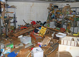 bicycle parts tool and  boxes inside the garage after the flood
