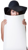 Cute Lady Hiding Behind Poster