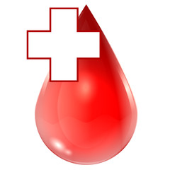 drop of blood and medical cross