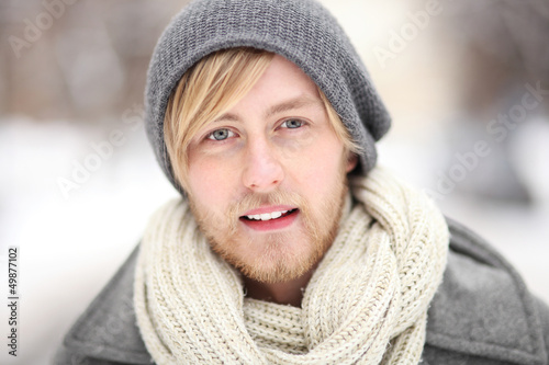 Young man in winter clothes