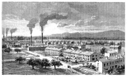Leinwandbild Motiv Worker's Housing Estate - Cité Ouvrière - 19th century