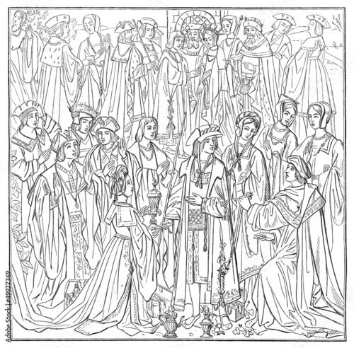 Medieval Court Scene - Scène de Cour - 16th century
