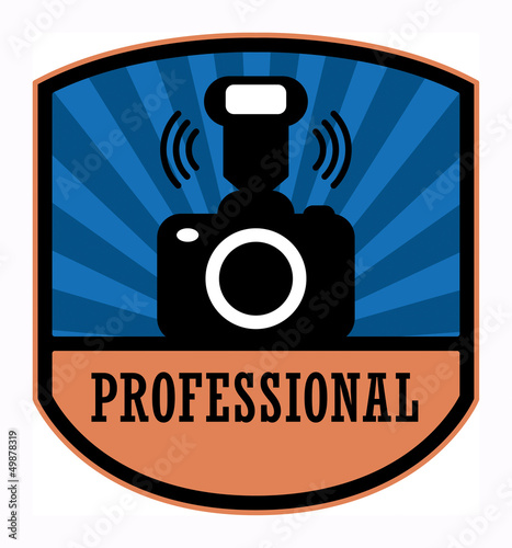 Professional photography label, vector illustration