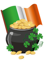 Pot of gold with banner and irish flag