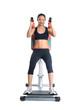 Brunette woman on isodynamic exerciser
