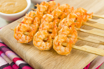 Sate Goong - Thai prawn satay with peanut sauce and ajat.
