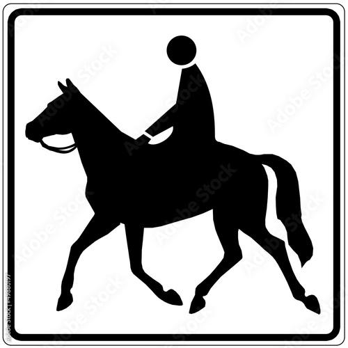 Schild weiß - Reiter