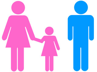 Ilustração - Casal divorciado com filha de mão dada à mãe