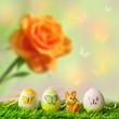 Osterwiese mit Eiern und Häschen