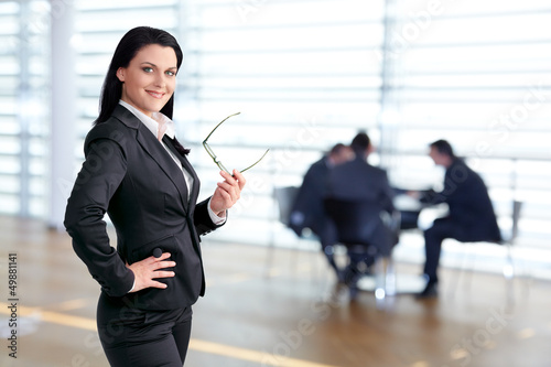 Confident female team leader