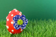 blumiges Osterei im grünen Gras