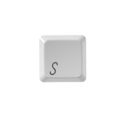 The letter S from a white computer keyboard