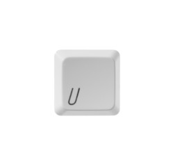 The letter U from a white computer keyboard