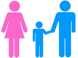 Ilustração - Casal divorciado com filho de mão dada ao pai