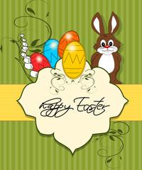Ostern, Karte mit Hasen und Osterei