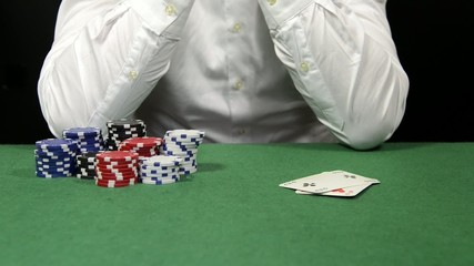 Poker player folding