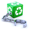 Green recycle dice with chain
