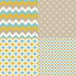 Blue, Mustard and Brown Seamless Patterns