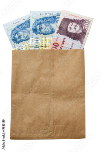 money of Hungary in paper envelop