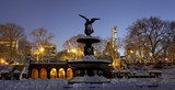 Panoramic of Bethesda fountain in Central Park New York after sn