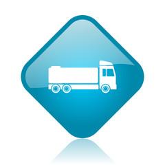 truck blue square glossy web icon